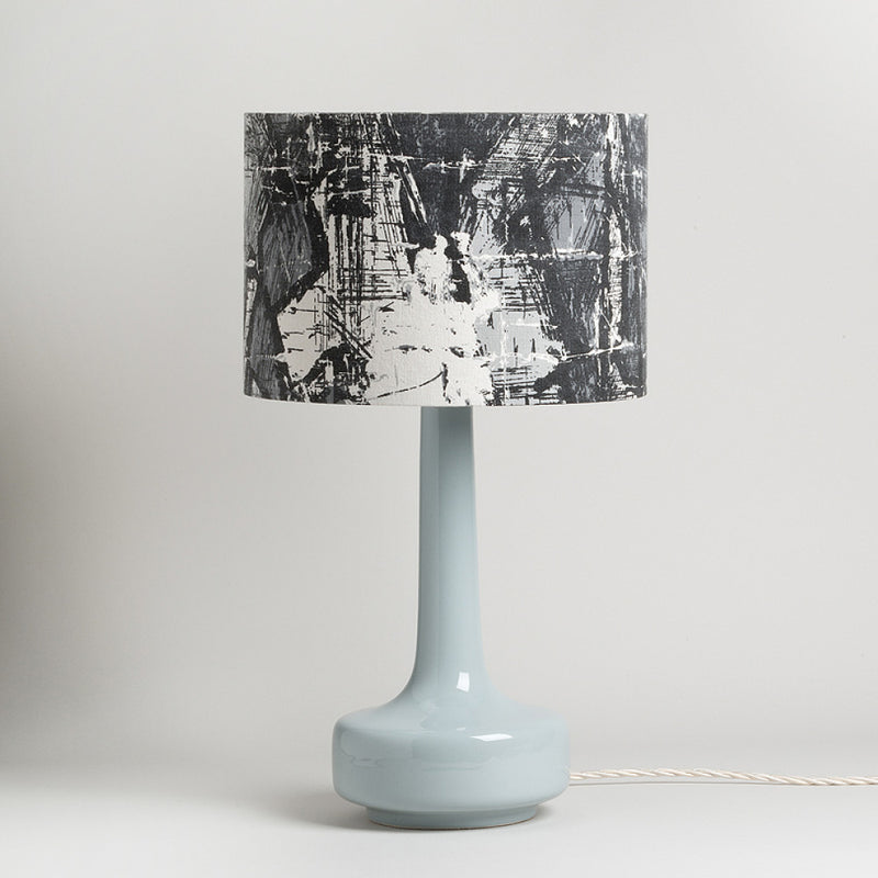 Bell Bottom Grey Table Lamp with Vintage Abstract Shade