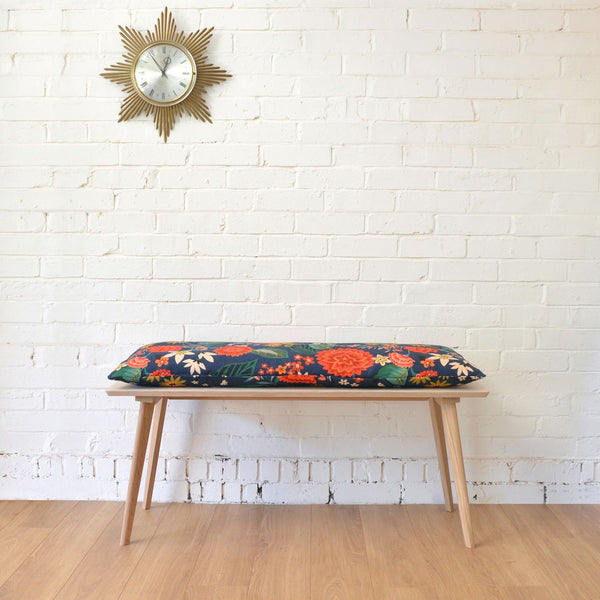 Perky Plywood Bench with Nasturtium or Carnation Cushion