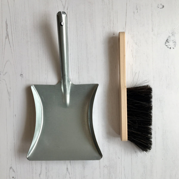 Metal Dustpan with Wooden Brush