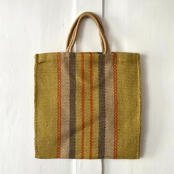 Striped Jute Tote Bag - Yellow