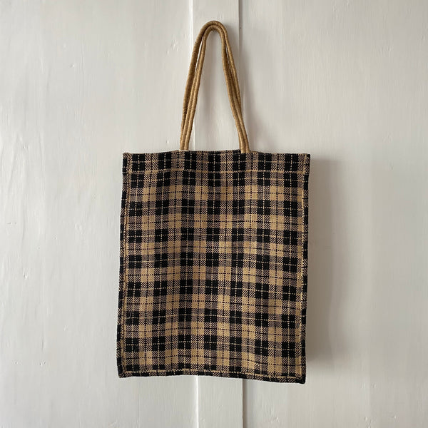 Monochrome Checked Jute Tote Bag