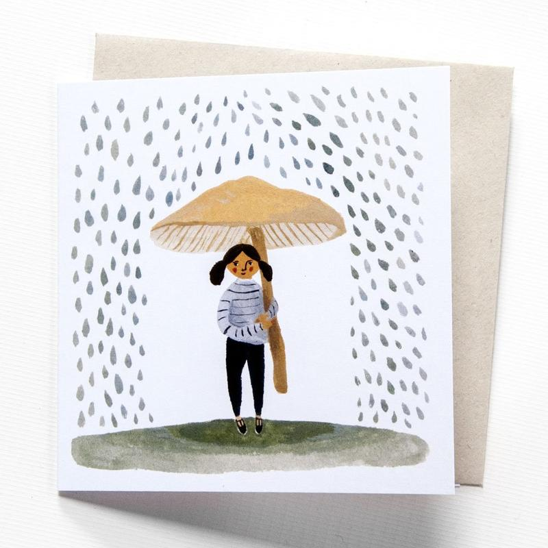 'It Rains' Greetings Card