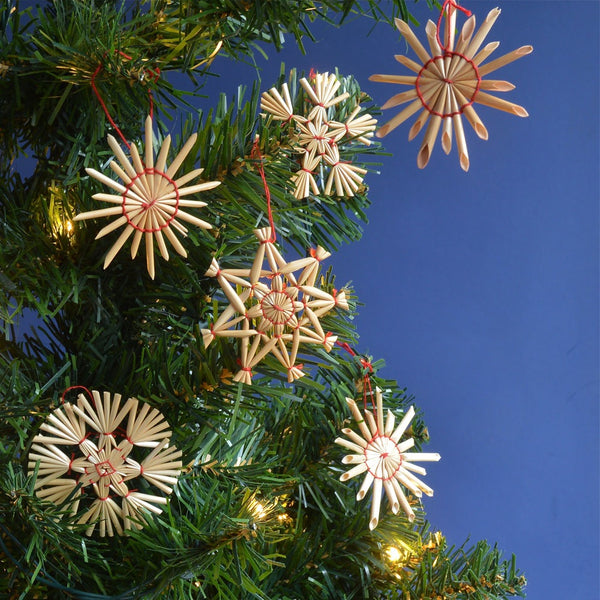 Set Of Eighteen Straw Christmas Tree Decorations