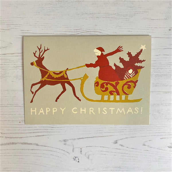 'Christmas Sleigh' Pack of 6 Cards