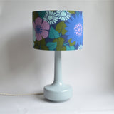 Bell Bottom Grey Table Lamp with Vintage Flowers & Leaves Shade