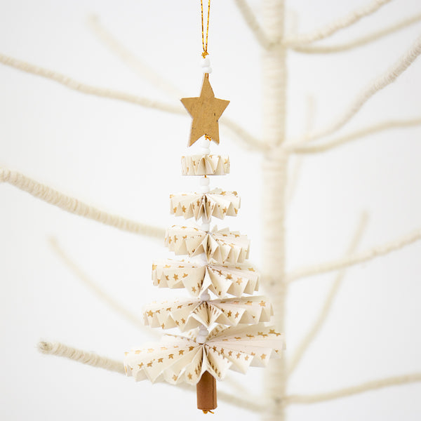 Paper Christmas Tree Decoration - White
