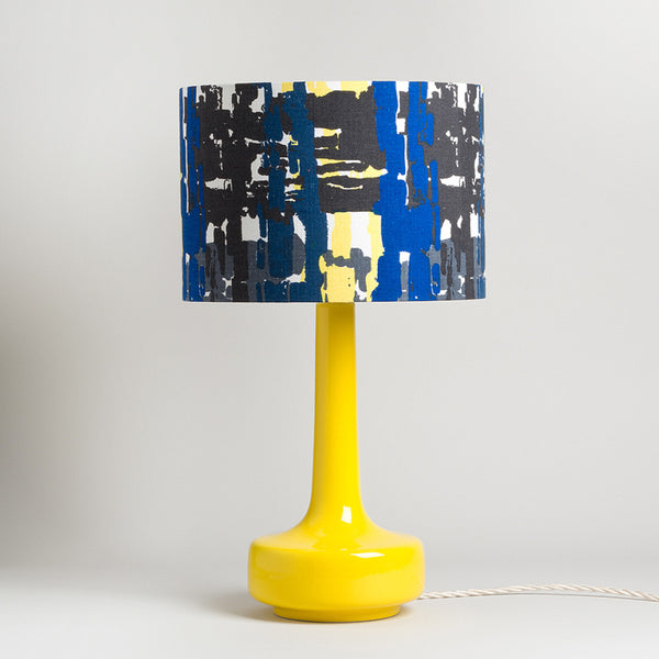 Bell Bottom Yellow Table Lamp with Vintage Black / Blue Shade
