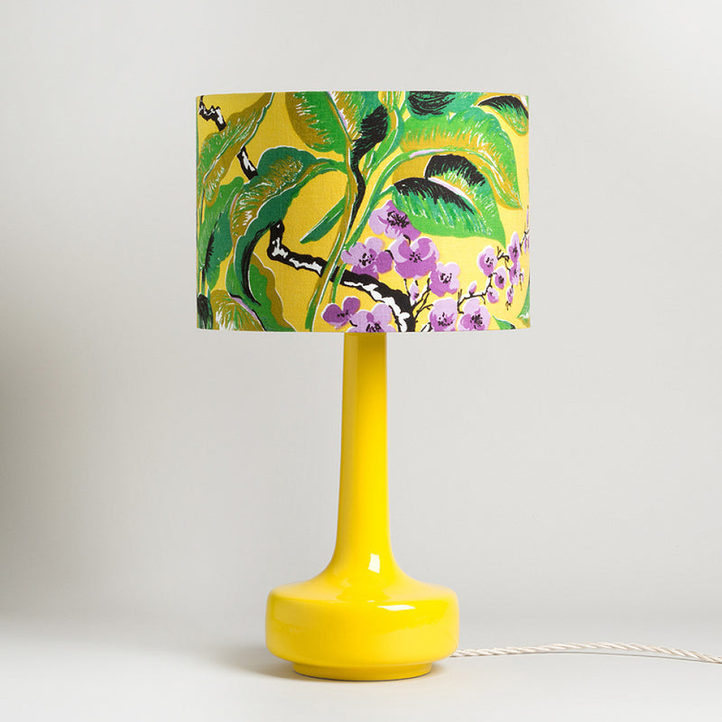 Bell Bottom Yellow Table Lamp with Vintage Leaf Shade