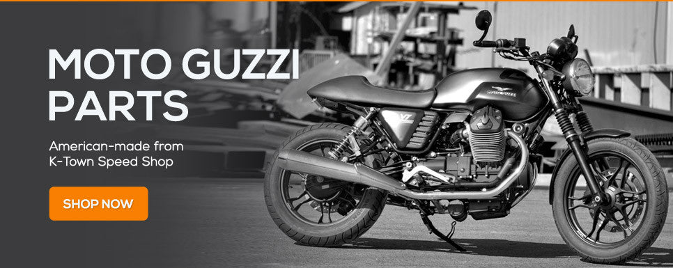 Custom precision Moto Guzzi motorcycle accessories from K-Town Speed Shop. Made in the USA!