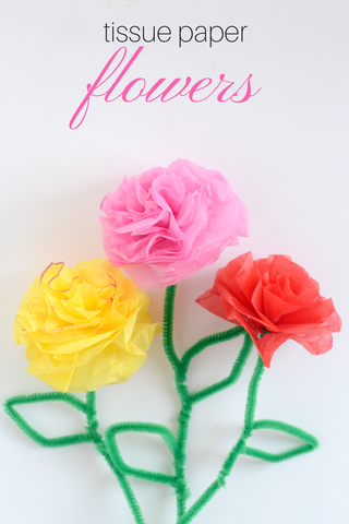 Less mess arts and crafts for kids - tissue paper flowers