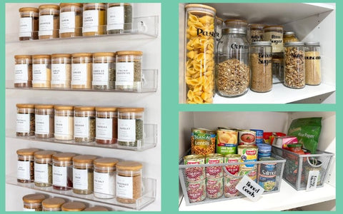 Pantry organisation with Store and order, label everything