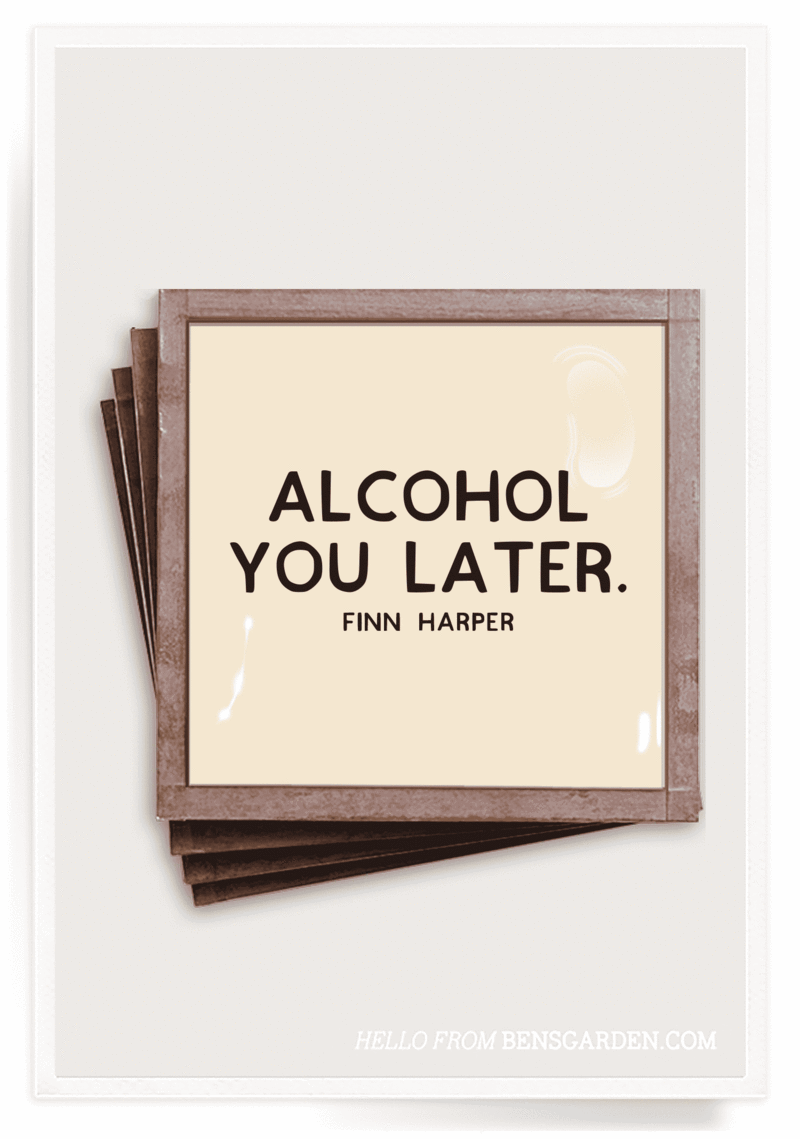 Alcohol You Later Copper & Glass Coasters (4)