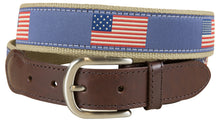 Load image into Gallery viewer, Historical American Flags Leather Tab Belt