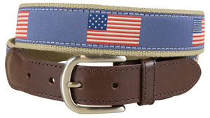 Historical American Flags Leather Tab Belt
