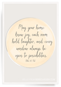 """May Your Home..."" 4"" Round Decoupage Glass Tray"
