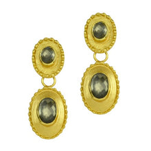 Load image into Gallery viewer, MEDAGLIA EARRINGS: Tanzanite/Pyrite