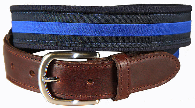 Blue & Navy Classic Stripe Leather Tab Belt