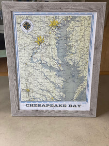 Chesapeake Bay AreaVintage Map (18x24)-  With Distressed White Wood Frame