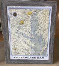 Load image into Gallery viewer, Chesapeake Bay AreaVintage Map (18x24)-  With Distressed Gray Frame