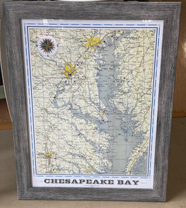 Chesapeake Bay AreaVintage Map (18x24)-  With Distressed Gray Frame