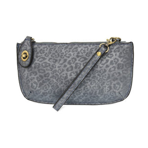 Tonal Leopard Crossbody Wristlet Clutch- Chambray
