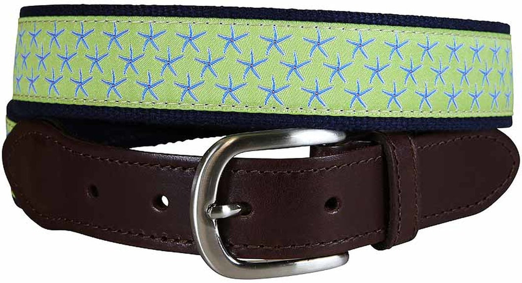 Key Lime Starfish Leather Tab Belt