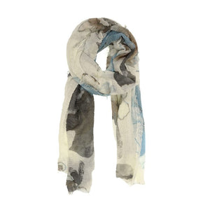 Light Blue Abstract Floral Scarf