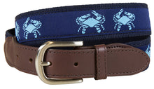Load image into Gallery viewer, Men's Navy Crab Leather Tab Belt
