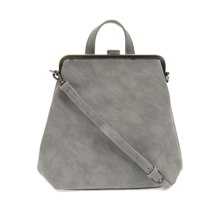 Phyllis Nubuck Frame Convertible Backpack- French Grey