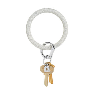 Big O Silicone Key Ring- Silver Confetti