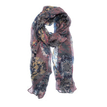 Load image into Gallery viewer, Brushstroke Floral Scarf- Purple