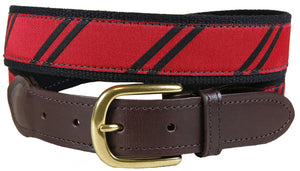 Red & Black Repp Stripe Leather Tab Belt