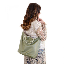 Load image into Gallery viewer, Riley Reversible Slouchy Hobo Handbag-Sage
