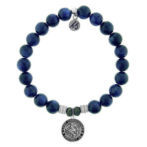 TJ Beaded Bracelet- Kyanite with St. Christopher