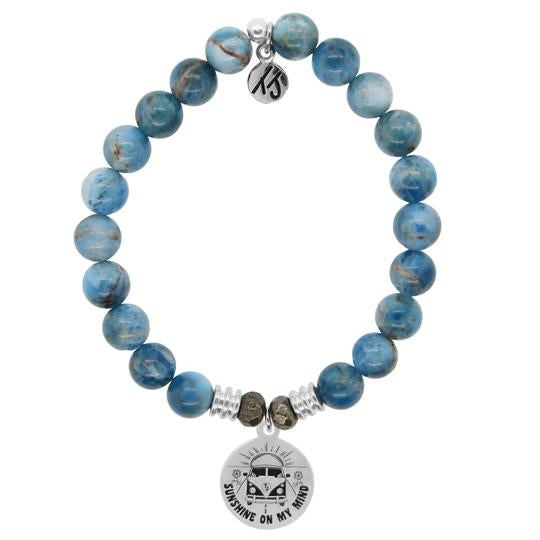 TJ Beaded Bracelet- Arctic Apatite with Life's a Journey