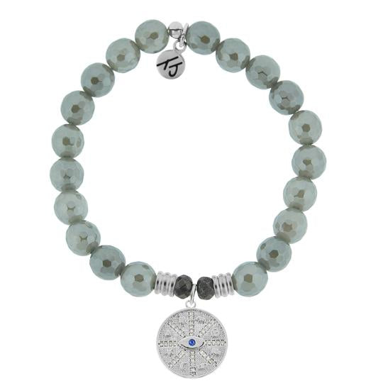 TJ Beaded Bracelet- Grey Agate with Protection