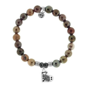 TJ Beaded Bracelet- Mookaite with Family Tree
