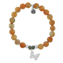 Load image into Gallery viewer, TJ Beaded Bracelet- Orange Calcite with Butterfly