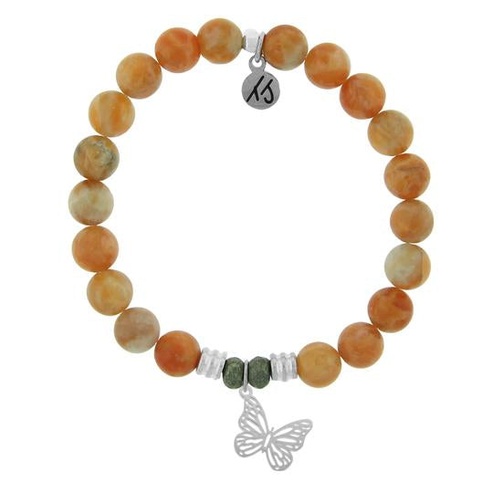 TJ Beaded Bracelet- Orange Calcite with Butterfly