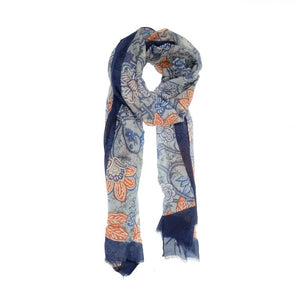 Tapestry Scarf- Navy/Salmon
