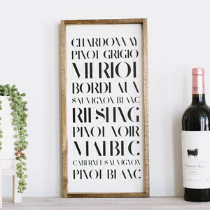 'Type of Wines'- Framed Wood Sign