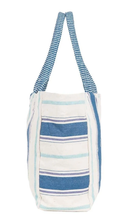 Load image into Gallery viewer, Woven Stripe Cotton Tote- Blue
