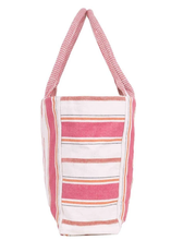Load image into Gallery viewer, Woven Stripe Cotton Tote- Pink