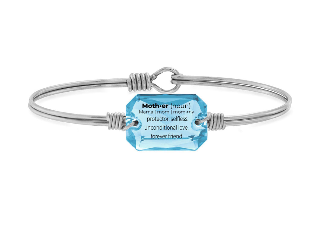 Mom Definition Bangle Bracelet in Aquamarine - Silver