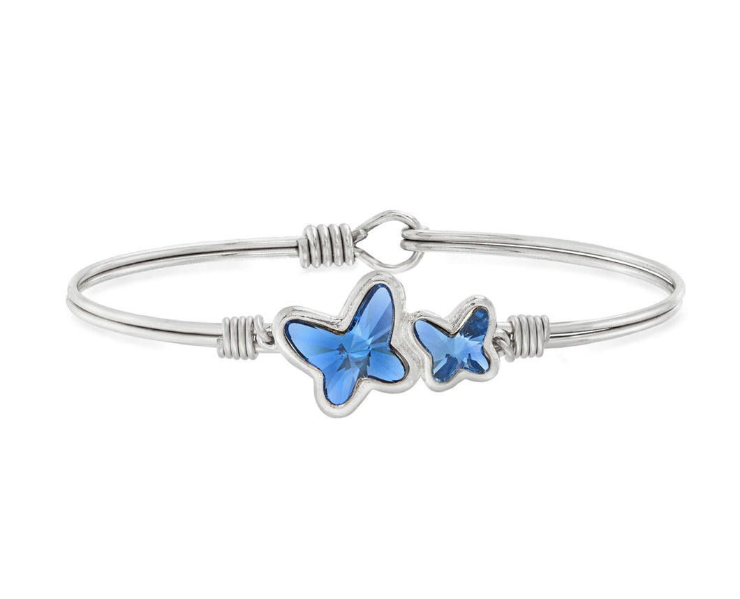 Butterflies Bangle Bracelet in Denim Blue - Silver