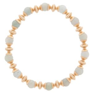 Loyalty Gold 6mm Bead Bracelet - Aquamarine