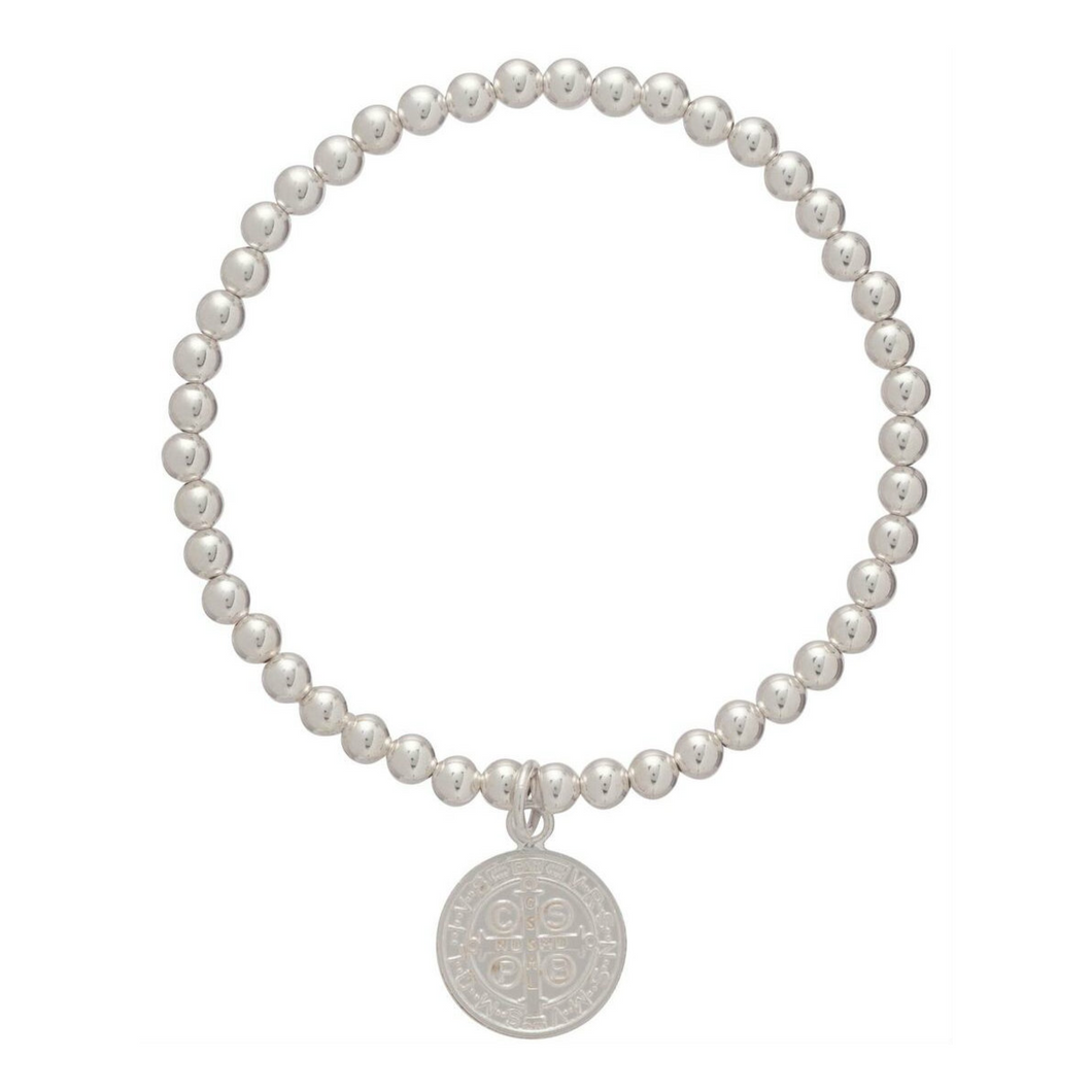 classic sterling 3mm bead bracelet - blessing small sterling charm