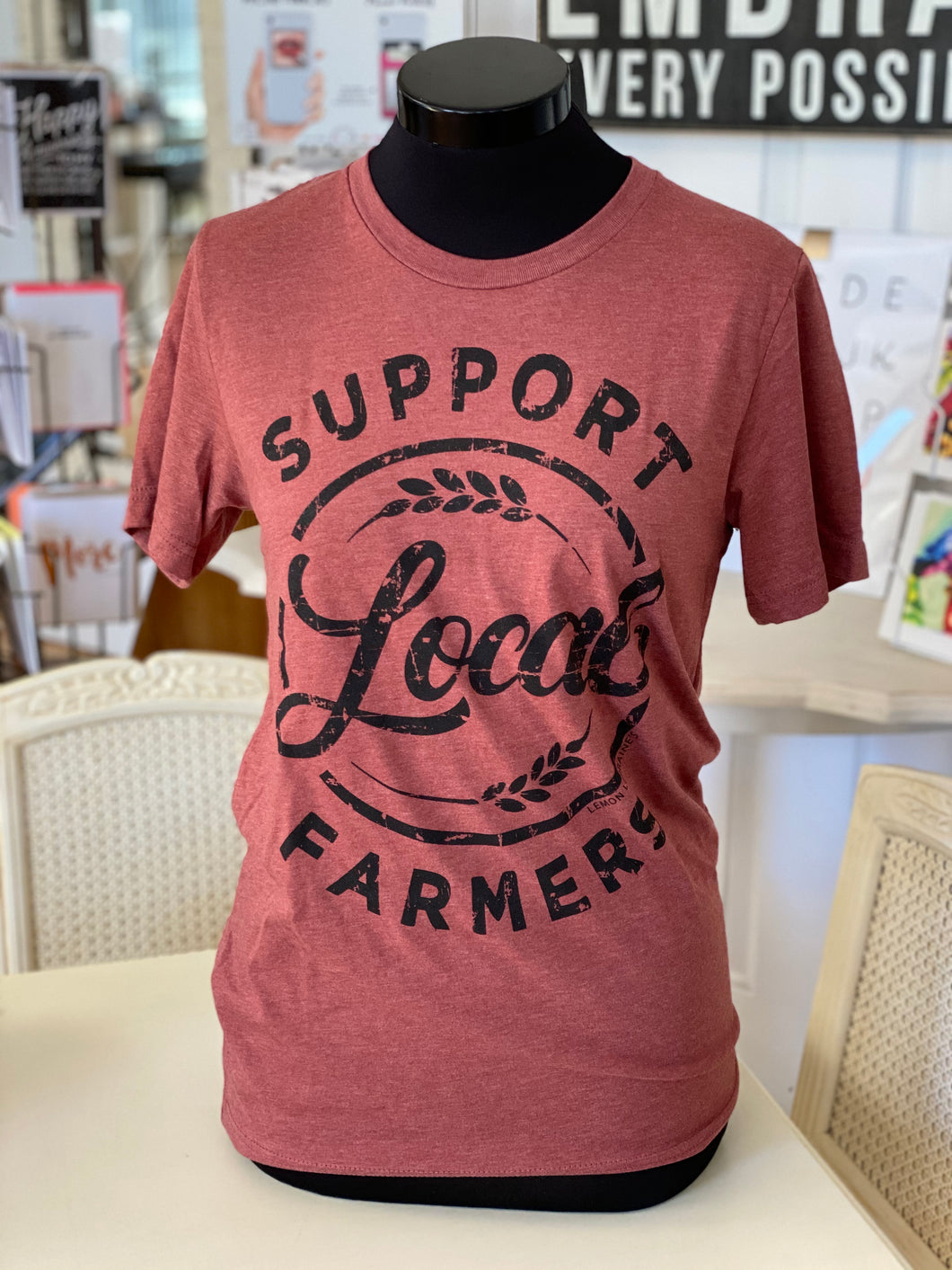 """Support Local Farmers""-Graphic Tee (Rust)"