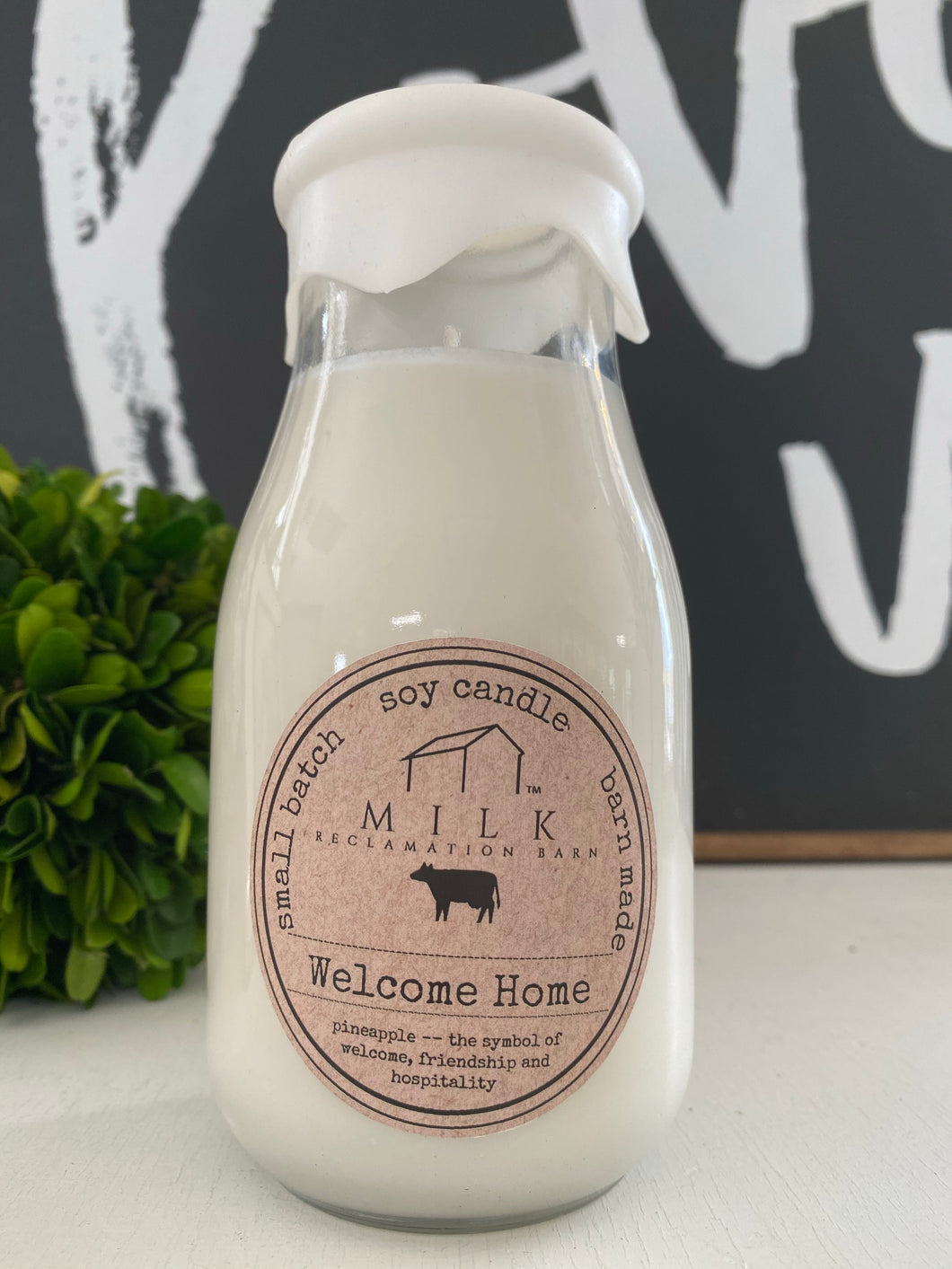 Milk Bottle Candle - Welcome Home