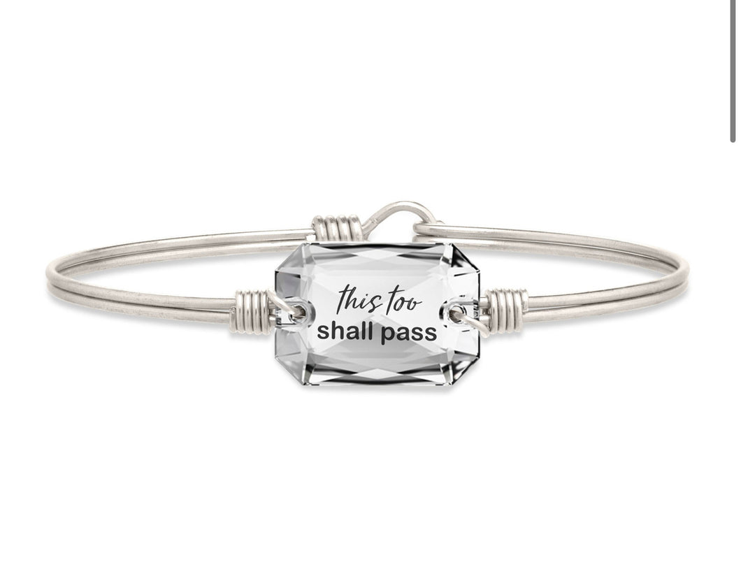 This Too Shall Pass Bangle Bracelet - Silver